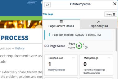 Screenshot of Siteimprove add-on in Plone