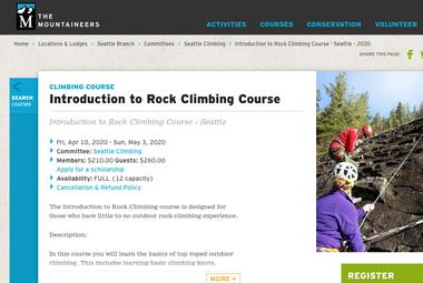Screenshot of Mountaineers Rock Climbing Course