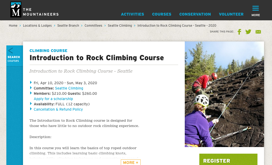 The Mountaineers Rock Climbing Course
