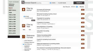 Screenshot of University of Minnesota Press Test Division bibliography faceted search