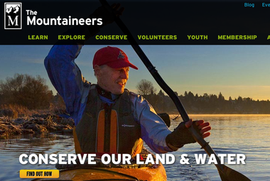 Screenshot of The Mountaineers' homepage